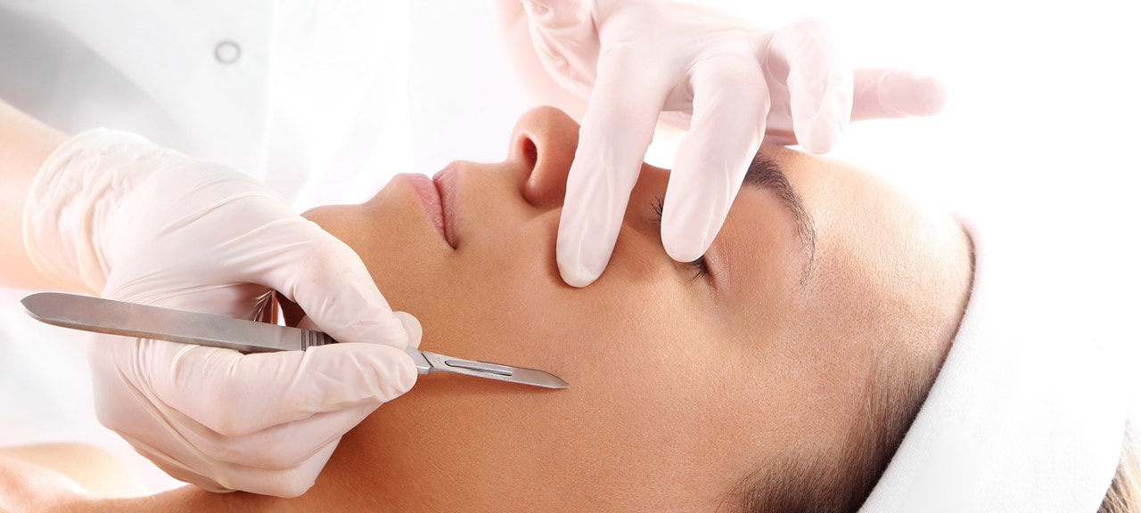Image of a woman during dermaplaning treatment